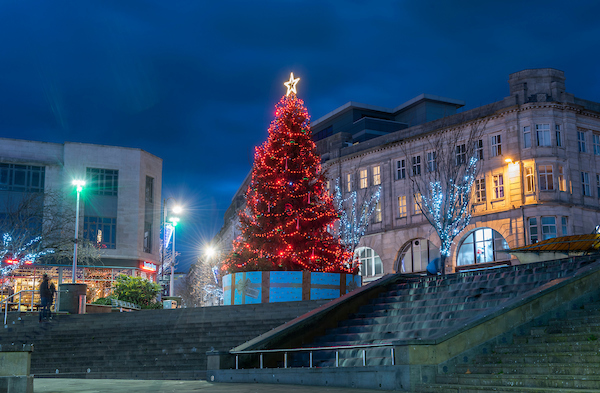 Christmas Tree in Castle Square, Swansea