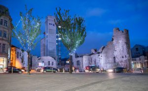 Swansea Castle by night