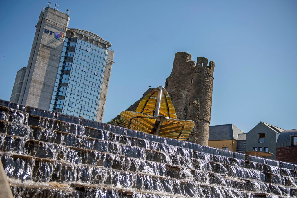 Fountain steps, Swansea Castle and BT Tower