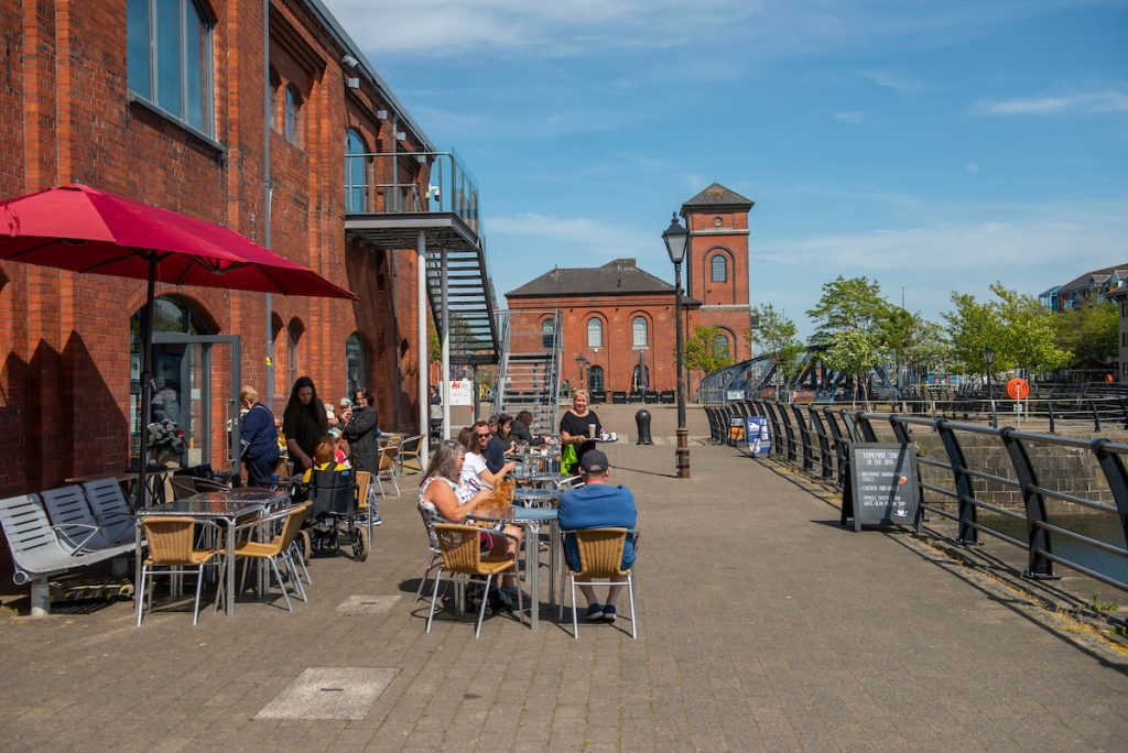 Outdoor seating of cafe in Swansea Marina